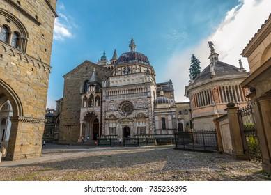 Bergamo, Italy - May 27, 2016: Wide-angle view of the Cappella Colleoni chapel, Piazza Duomo, Bergamo, Italy.