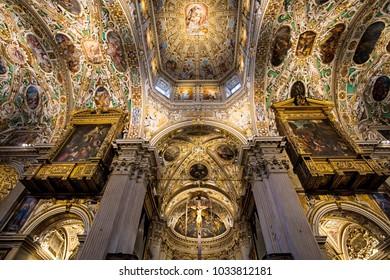 Bergamo, Italy - November 04, 2017: Frescoes in the Interior of Basilica of Santa Maria Maggiore in Bergamo, Italy
