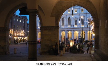 Bergamo, Italy. November 18, 2018. The old city. One of the beautiful city in Italy. Lombardia. Landscape from the loggia to the old main square and the public library