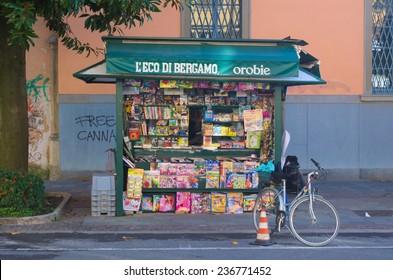 BERGAMO, ITALY, NOVEMBER 2, 2014: Detailed view of the newsstand in italian city bergamo