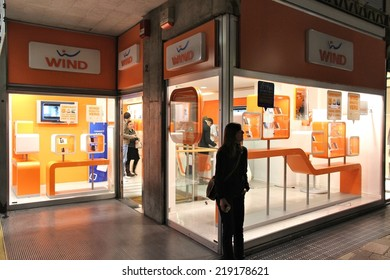 BERGAMO, ITALY - OCTOBER 20, 2012: People visit Wind mobile phone store in Bergamo. Wind has 24 percent market share in Italy mobile phone market (with 22.4 million subscribers in 2013).