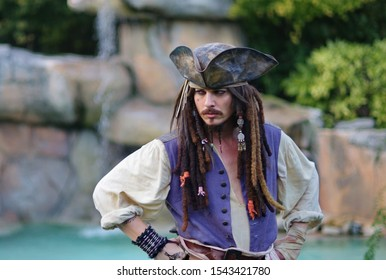 BERGAMO, Italy- October 27, 2019. Actor posing for photographers in person cosplay 'Captain Jack Sparrow' from Pirates of the Caribbean at Brusaporto Expo Photo day 2019. October 27, 2019.