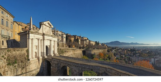 Bergamo, Italy. The old town. Landscape at the ancient gate Porta San Giacomo and the Venetian walls