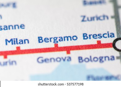 Bergamo, Italy on a geographical map.