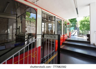 Bergamo, Italy. The red funicular in the old city of Bergamo