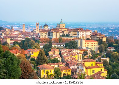 Bergamo, Italy.  Scenic view of the Old city. Landscape of the city center and the historical buildings during the summer sunset.