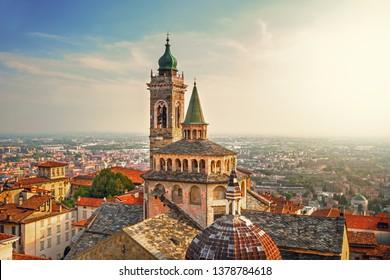 Bergamo - Italy.  Scenic view of the old town city center and  Basilica of Santa Maria Maggiore and Cappella Colleoni in Citta Alta.