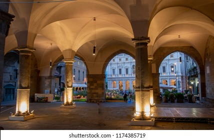 Bergamo Italy September 7th 2018: Bergamo Old Town in a high-rise city transformed into a botanical garden for the masters of the landscape