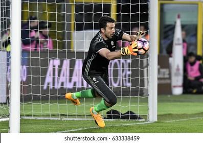 BERGAMO, ITALY-APRIL 28, 2017: FC Juventus goalkeeper Gianluigi Buffon in action during the italian serie A soccer match Atalnta vs Juventus FC at the stadium Atleti Azzurri d'Italia , in Bergamo.