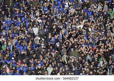 BERGAMO, ITALY-JANUARY 16, 2016: Atalanta soccer fans gathering at the stadium to support their team, during the italian serie  A soccer match Atalanta vs FC Internazionale, in Bergamo.