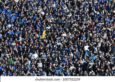 BERGAMO, ITALY-JANUARY 21, 2018: Atalanta' s soccer fans cheering to support their team, in Bergamo.