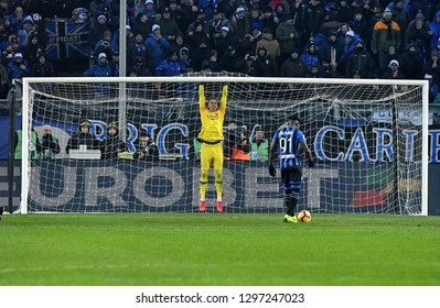 BERGAMO, ITALY-JANUARY 27, 2019: AS Roma goalkeeper ready for a penalty kick during the italian match Atalanta vs AS Roma, in Bergamo.