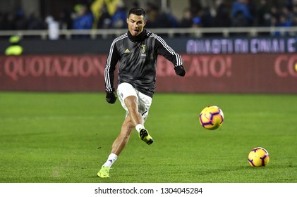 BERGAMO, ITALY-JANUARY 30, 2019: FC Juventus football star, Cristiano Ronaldo, in action during the Italian Cup match Atalanta vs FC Juventus, in bergamo.
