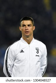 BERGAMO, ITALY-JANUARY 30, 2019: FC Juventus football star, Cristiano Ronaldo, portraited with Adidas white jacket, before the Italian Cup match Atalanta vs FC Juventus, in bergamo.