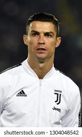 BERGAMO, ITALY-JANUARY 30, 2019: FC Juventus football star, Cristiano Ronaldo, portraited with Adidas white jacket, before the Italian Cup match Atalanta vs FC Juventus, in bergamo.