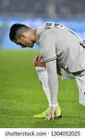 BERGAMO, ITALY-JANUARY 30, 2019: FC Juventus football star, Cristiano Ronaldo, shoe up during the Italian Cup match Atalanta vs FC Juventus, in bergamo.