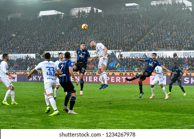 BERGAMO, ITALY-NOVEMBER 11, 2018: football players action at the italian soccer stadium, Atleti Azzurri d'Italia, during the italian match Atalanta vs Inter Milan. in Bergamo.