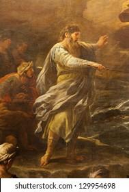 "BERGAMO - JANUARY 26: Moses from paint ""Passaggio del Mar Rosso"" by Luca Giordano. Crossing the Red sea paint form church Santa Maria Maggiore on January 26, 2013, in Bergamo, Italy."