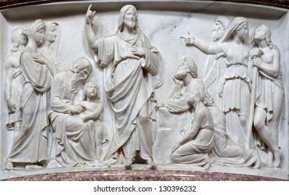 BERGAMO - JANUARY 29: Relief of Jesu by predication in the church San Alessandro della Croce on January 29, 2013 in Bergamo, Italy.
