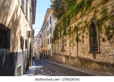 Bergamo, Lombardy, Italy - June 16, 2019: street in the old town of Bergamo, Citta Alta