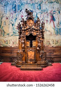 Bergamo, Lombardy, Italy - October 5 2019 Wooden confessional with carved sculptures inside the basilica of Santa Maria Maggiore in Bergamo Citta Alta