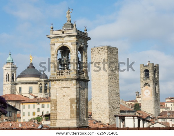 Bergamo - Old city, Italy. Landscape on the city center, the group of old towers from the old fortress