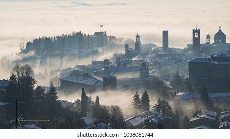 Bergamo, one of the most beautiful city in Italy. Lombardy. Amazing landscape of the fog rises from the plains and cover the old town