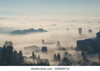 Bergamo, one of the most beautiful city in Italy. Lombardy. Amazing landscape of the fog rises from the plains and covers the old town