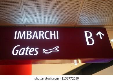 Bergamo Orio al Serio Airport, Italy-23th June, 2018: sign indicating gates