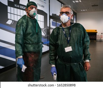Bergamo,Italy- 22 February 2020: medical services at the airport Bergamo-Milano investigate aircraft passengers who have arrived in Italy to minimize the risk of the spread of the coronavirus epidemic