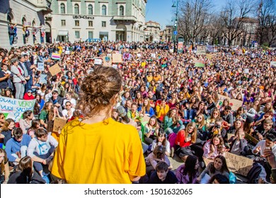 """Bergamo,Lombardy,Italy 15 March 2019:Fridays for Future"""" protest - The student strike for global warming"""