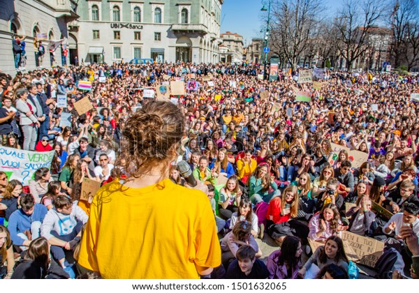 "Bergamo,Lombardy,Italy 15 March 2019:Fridays for Future"" protest - The student strike for global warming"