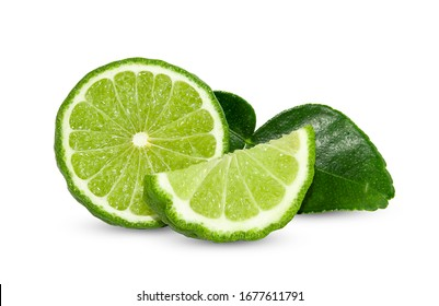 Bergamot fruit with cut in half isolated on white background. Clipping path.