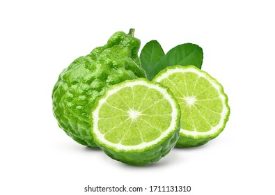 Bergamot fruit with cut in half and leaf isolated on white background. Clipping path.