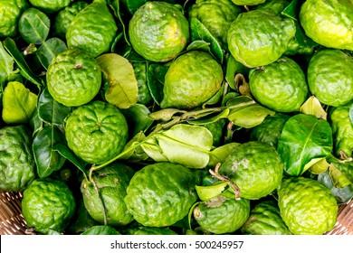 Bergamot fruit, group of bergamot, Fresh Bergamot and bergamot leaves . Bergamot
