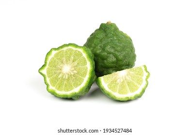 Bergamot fruit isolated on white background. Bergamot is ingredient in asean food and is herb for body care.