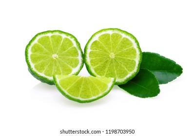 bergamot fruit with leaf isolated on white background