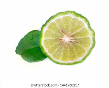 bergamot fruit with leaf isolated on white background.