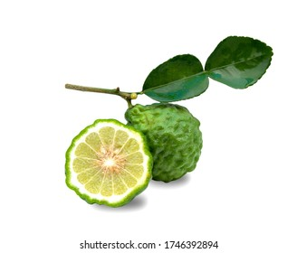 Bergamot fruit with leaf isolated on white background, with clipping path.