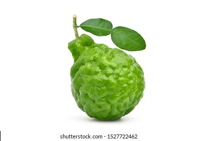 Bergamot fruit with stem and leaf isolated on white background. Clipping path.