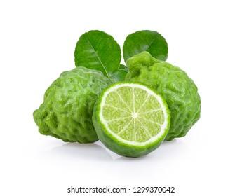 bergamot with half and leaf isolated on white background