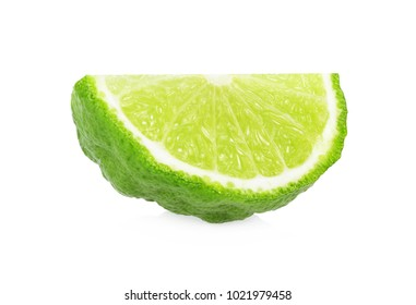 Bergamot (kaffir) cutted, half, sliced, isolated on white background