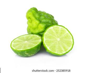 Bergamot (Kaffir lime) sliced isolated on white background