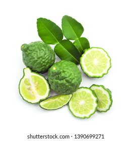 bergamot with leaf and slice top view isolated on white background.