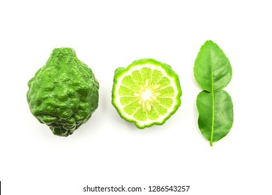 bergamot with bergamot leaf top view isolated on white background.
