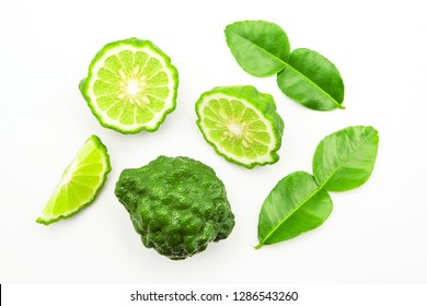bergamot with bergamot leaf top view isolated on white background.