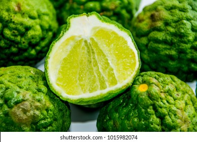 Bergamot on the white background. Citrus bergamia, the bergamot orange is a fragrant citrus with a yellow or green color similar to a lime.