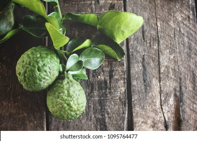Bergamot on wood background