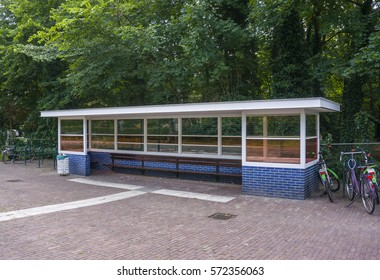 Bergeijk, Netherlands, July 2014. Shelter at a bus stop, designed by Dutch De Stijl artist Gerrit Rietveld