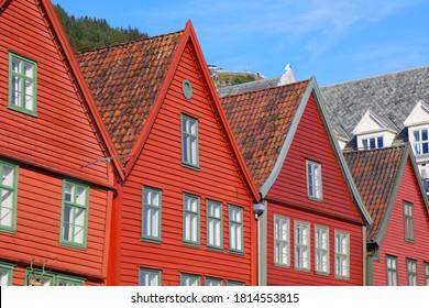 Bergen Stadt, Norwegen. Hafenviertel Bryggen - UNESCO Welterbe.